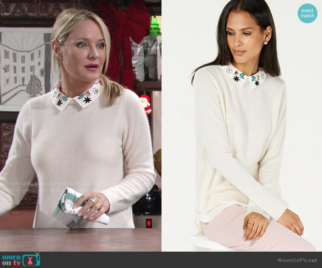 Charter Club Pure Cashmere Layered Look Sweater with Floral Collar worn by Sharon Collins (Sharon Case) on The Young & the Restless