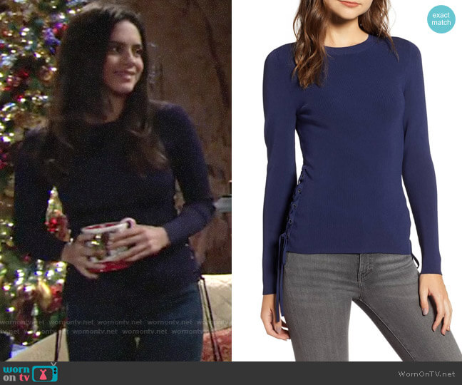 Chelsea28 Side Tie Sweater worn by Lola Rosales (Sasha Calle) on The Young & the Restless