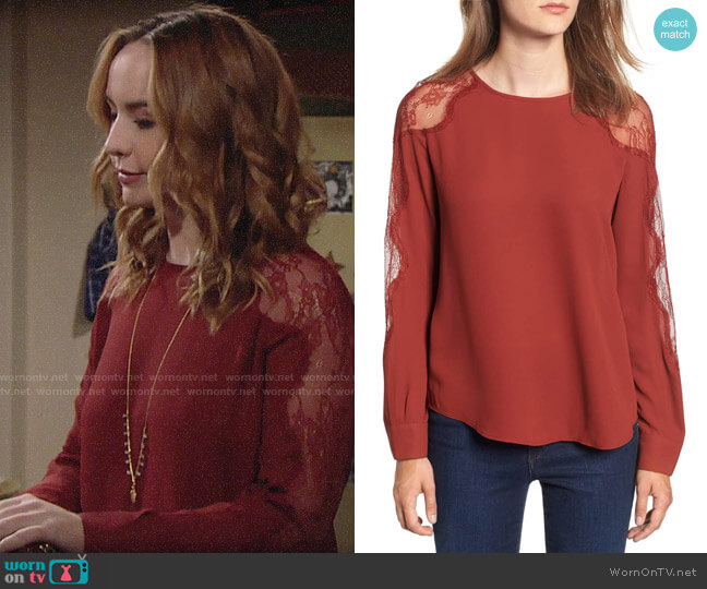 Chelsea28 Lace Inset Blouse worn by Camryn Grimes on The Young & the Restless