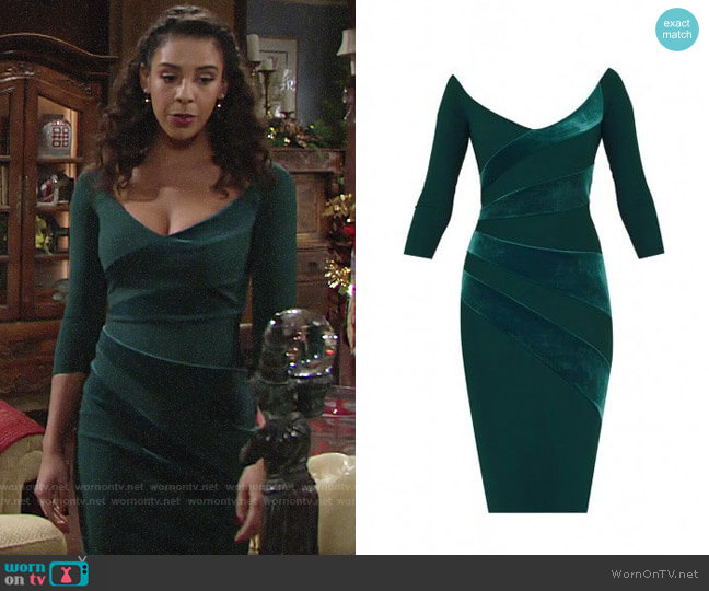 Chiara Boni La Petite Robe Kaliska Velvet Dress worn by Kerry Johnson (Alice Hunter) on The Young & the Restless