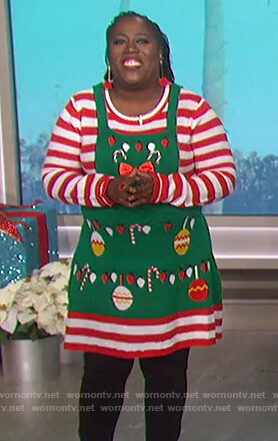 Sheryl's striped Christmas dress on The Talk