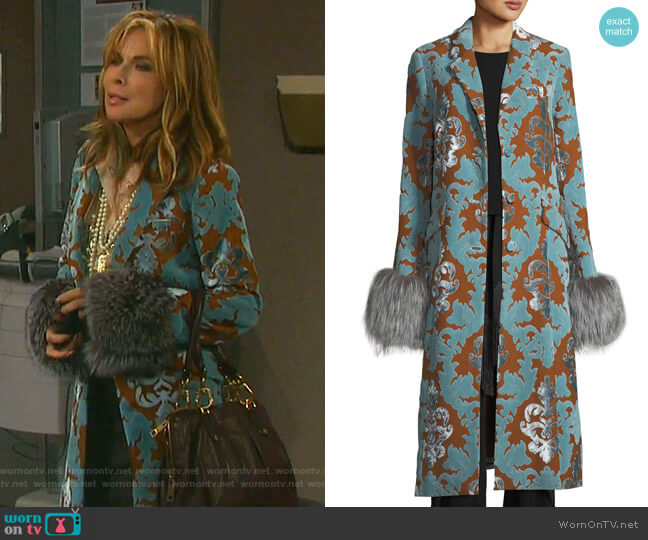 Ember Velvet Coat by Cinq a Sept worn by Kate Roberts (Lauren Koslow) on Days of our Lives