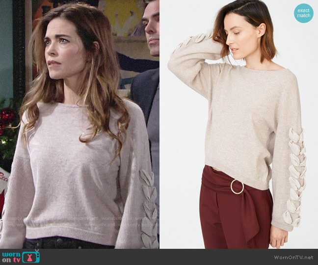 Club Monaco Quamora Cashmere Sweater worn by Victoria Newman (Amelia Heinle) on The Young & the Restless