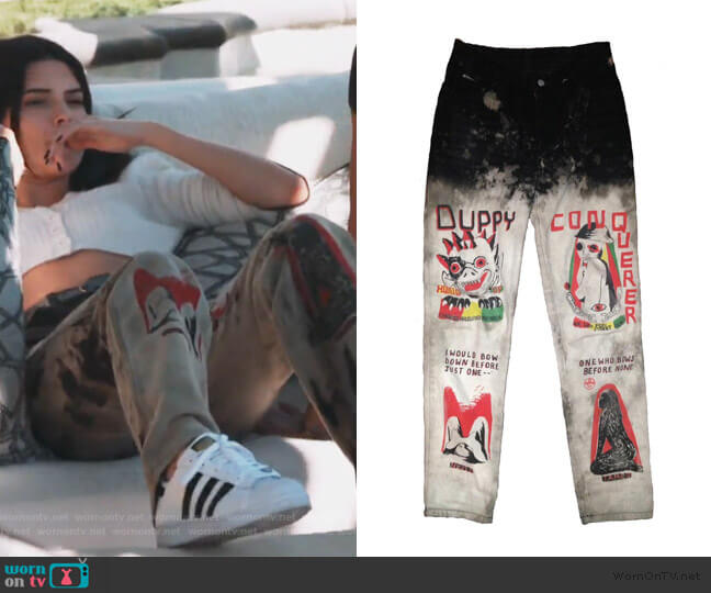Conqueror Jeans by Come Tees worn by Kendall Jenner  on Keeping Up with the Kardashians
