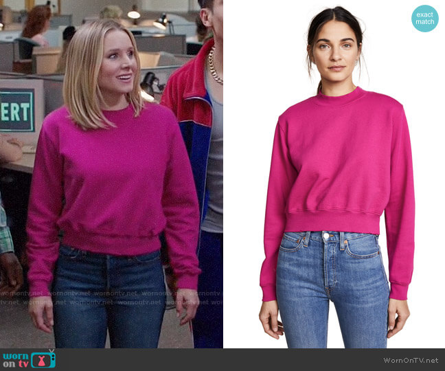 Cotton Citizen The Milan Cropped Sweatshirt worn by Kristen Bell on The Good Place