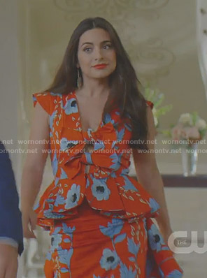 Cristal's red floral peplum dress on Dynasty