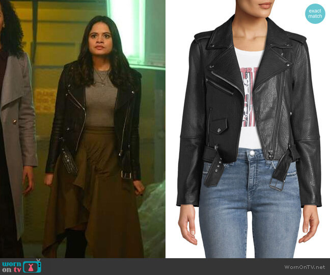 Current/Elliott The Shaina Leather Biker Jacket worn by Melonie Diaz on Charmed