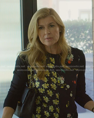 Debra's black mixed floral print sweater on Dirty John