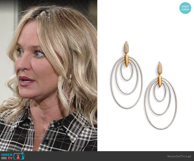 Dean Davidson Wave Drop Earrings worn by Sharon Collins (Sharon Case) on The Young & the Restless