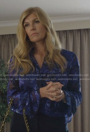 Debra's blue burnout blouse on Dirty John