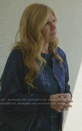 Debra's blue floral bomber jacket on Dirty John