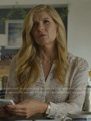 Debra's snake print blouse on Dirty John