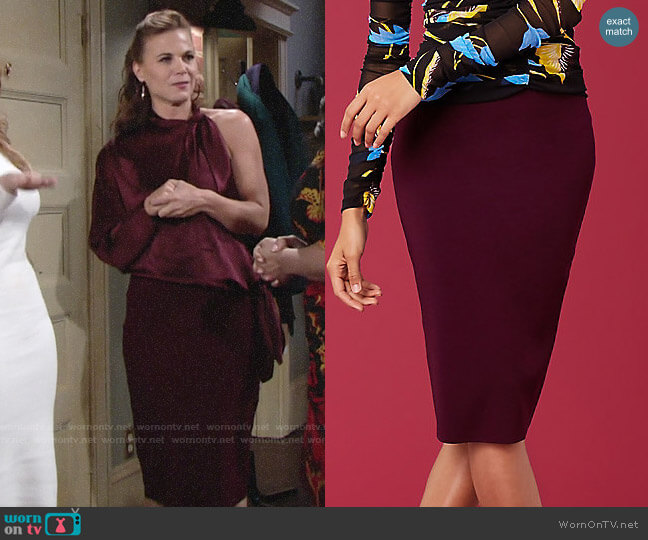 Diane von Furstenberg Knit Pencil Skirt worn by Phyllis Newman (Gina Tognoni) on The Young & the Restless