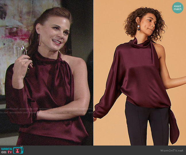 Diane von Furstenberg One Shoulder Knotted Blouse in Cabernet  worn by Phyllis Newman (Gina Tognoni) on The Young & the Restless