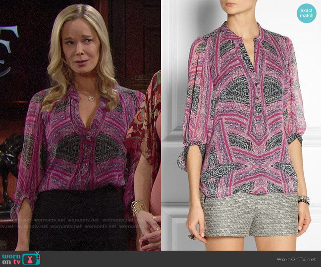 Diane von Furstenberg Syrah Blouse worn by Donna Logan (Jennifer Gareis) on The Bold & the Beautiful
