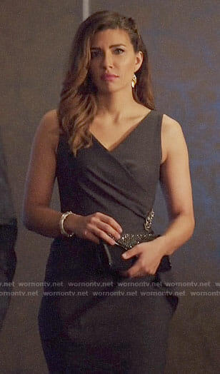Dinah's grey side ruffle dress on Arrow