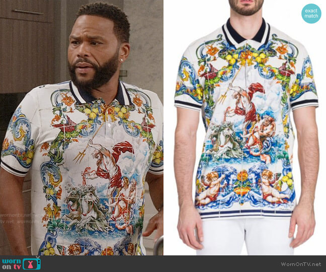 Dolce & Gabbana Majolica Polo worn by Andre Johnson (Anthony Anderson) on Blackish