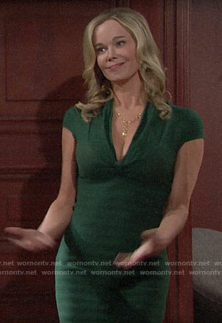 Donna's green knit dress on The Bold and the Beautiful