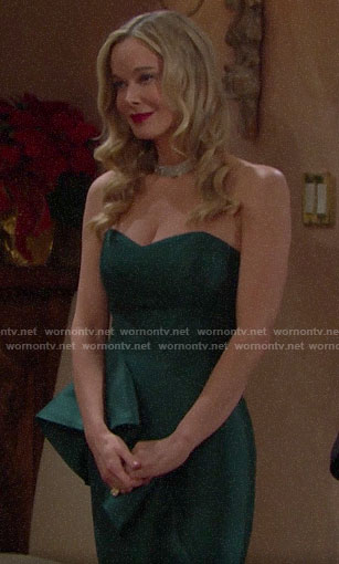 Donna's green strapless dress on The Bold and the Beautiful