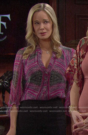 Donna's pink printed blouse on The Bold and the Beautiful