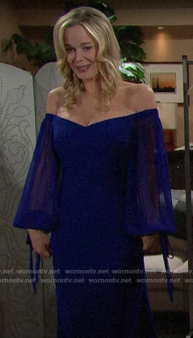 Donna's blue off-shoulder gown on The Bold and the Beautiful