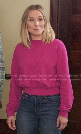 Eleanor's pink sweatshirt on The Good Place