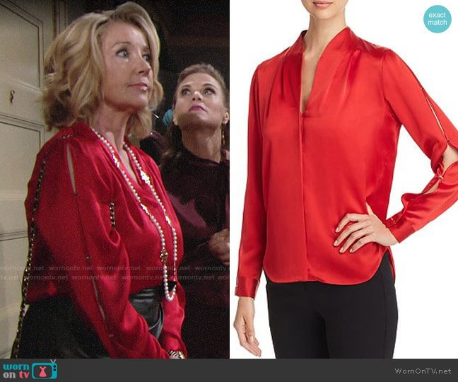 Elie Tahari Diya Blouse worn by Nikki Reed Newman (Melody Thomas-Scott) on The Young & the Restless