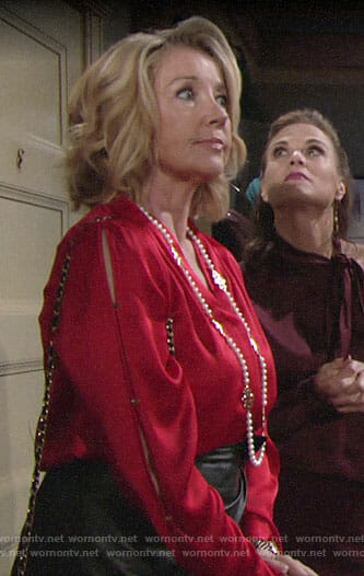 Nikki's red blouse and pearl necklace on The Young and the Restless