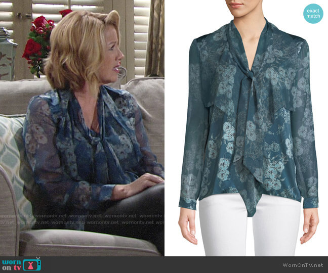 Elie Tahari Jurnee Blouse worn by Melody Thomas-Scott on The Young & the Restless