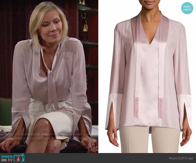 Elie Tahari Mavrick Blouse worn by Brooke Logan (Katherine Kelly Lang) on The Bold & the Beautiful