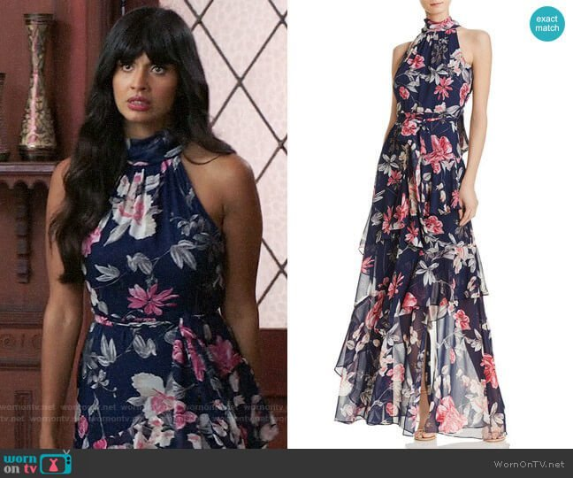 Tiered Floral Gown by Eliza J worn by Tahani Al-Jamil (Jameela Jamil) on The Good Place