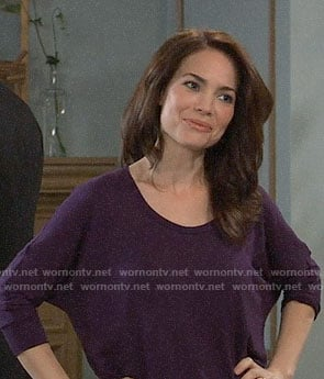 Elizabeth's purple dolman tee on General Hospital