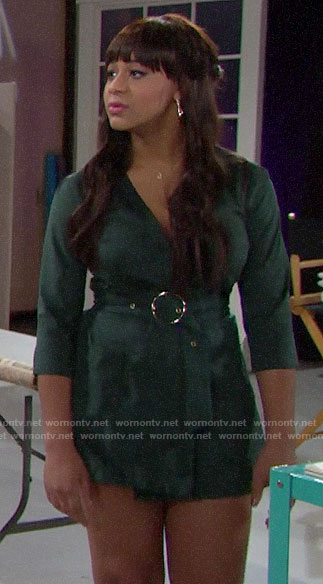 Emma's green suede romper on The Bold and the Beautiful