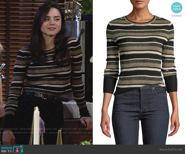 Frame Panel-Stripe Metallic Ribbed Pullover Sweater worn by Lola Rosales (Sasha Calle) on The Young & the Restless