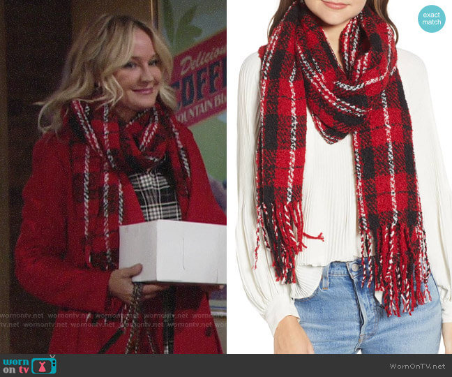 Free People Emerson Plaid Scarf worn by Sharon Collins (Sharon Case) on The Young & the Restless
