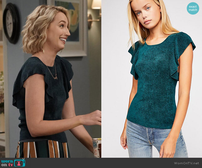 Free People Nikita Ruffle Sleeve Top worn by Mandy Baxter (Molly McCook) on Last Man Standing