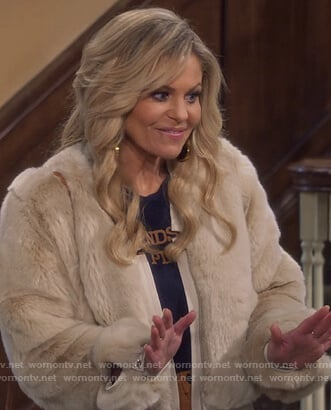 DJ's beige fur jacket and tee on Fuller House
