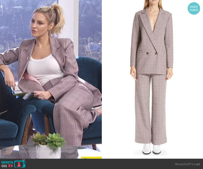 Suiting Blazer and pants by Ganni worn by Morgan Stewart  on E! News