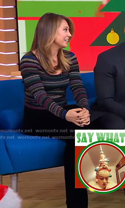 Ginger's metallic striped sweater and velvet wide-leg pants on Good Morning America