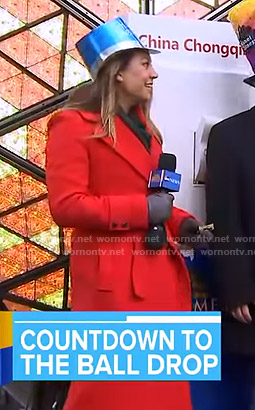 Ginger's orange wrap coat on Good Morning America