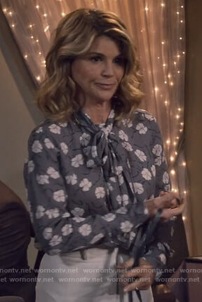Rebecca's gray floral tie neck blouse on Fuller House