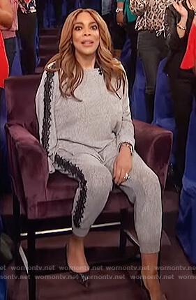 Wendy's gray lace trim sweater and jogger pants on The Wendy Williams Show
