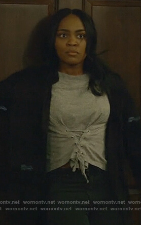 Jennifer's gray lace-up front tee on Black Lightning