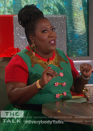 Sheryl's green Christmas elf dress on The Talk