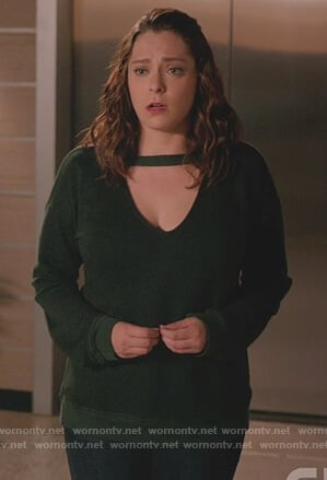 Rebecca's green cutout sweatshirt on Crazy Ex Girlfriend