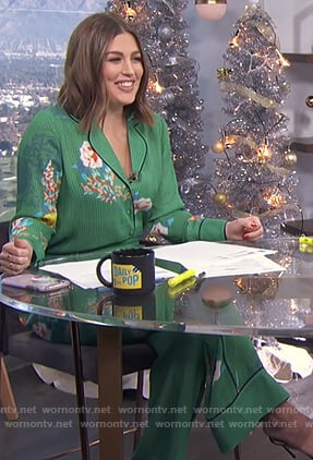 Carissa's green floral piping blouse on E! News Daily Pop