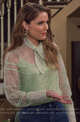 CJ's green lace tie neck blouse on Fuller House