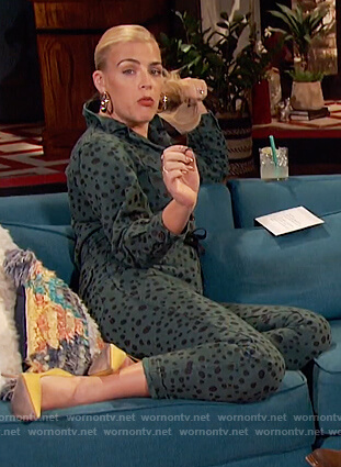 Busy's green dotted jumpsuit on Busy Tonight