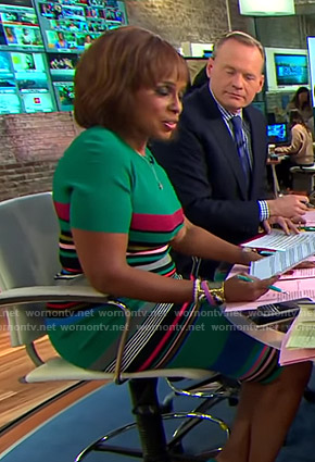 Gayle's green striped dress on CBS This Morning