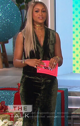 Eve's green velvet jumpsuit on The Talk